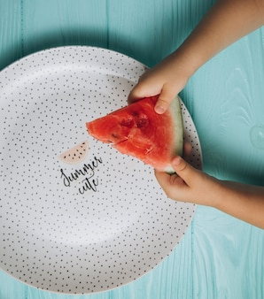 Food photography. summer vibes. a piece of a watermelon