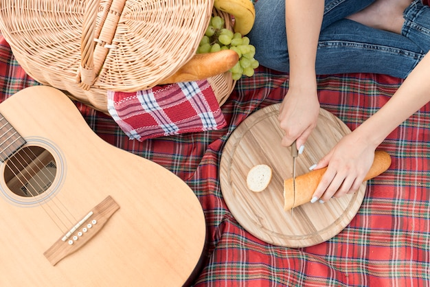 Food on a picnic blanket