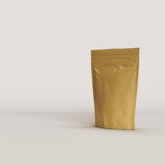 Food pouch packaging on white background