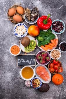 콜라겐이 풍부한 식품. 건강한 제품