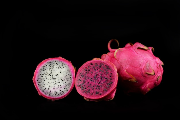 Food ripe tropical dragon fruit pink and a half