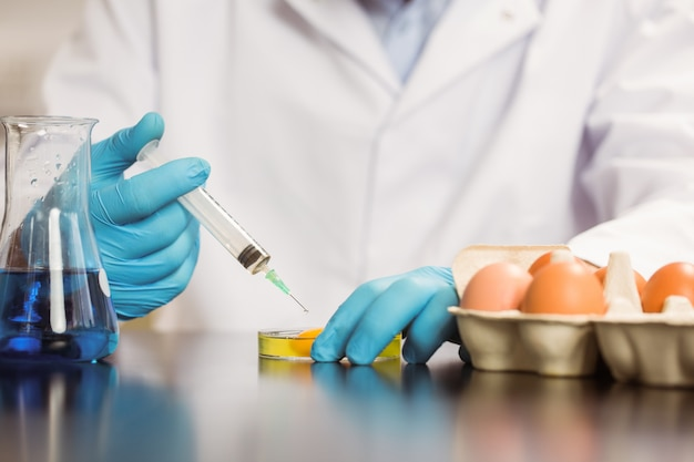 Food scientist injecting an egg yolk in petri dish