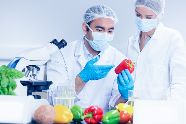 胡椒を食べる食品科学者