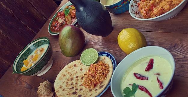 남부 인도의 음식 세트 요리