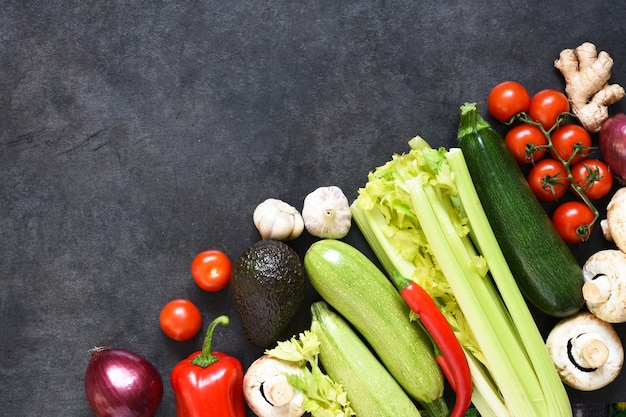 Food shopping or delivery concept, fresh vegetables  in a paper bag.