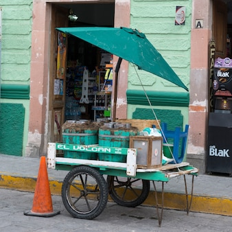 Food stall in front of a store on street, centro, dolores hidalgo, guanajuato, mexico