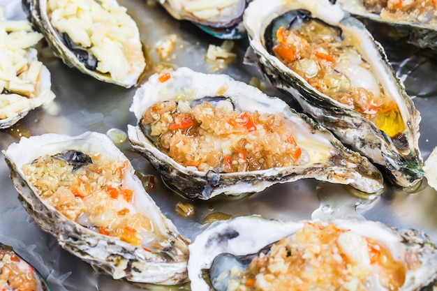 Food stuffed oysters and red pepper