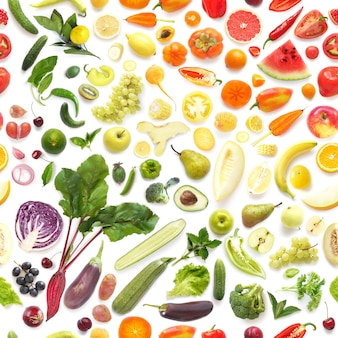 Food texture. seamless pattern of various fresh vegetables and fruits isolated on white