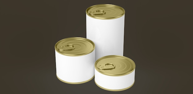 Пищевые консервные банки на цветной поверхности