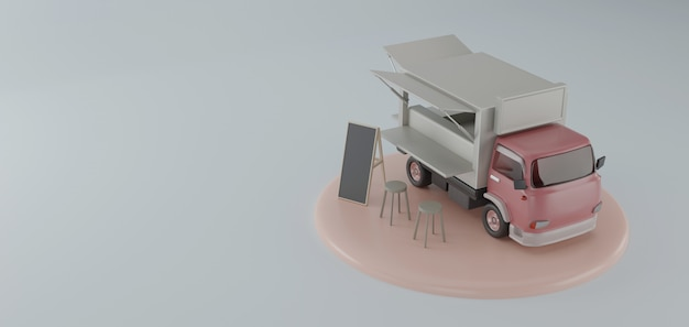 Food truck 3d rendering on a podium