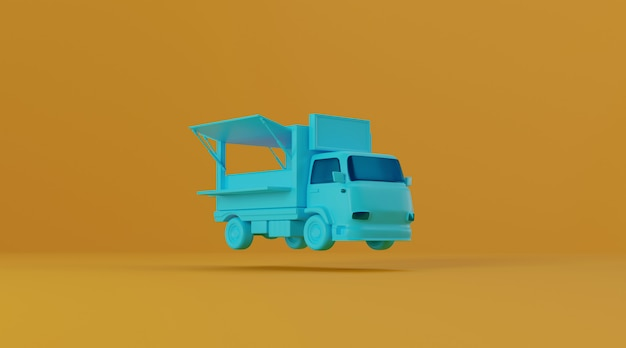 Food truck on yellow background.