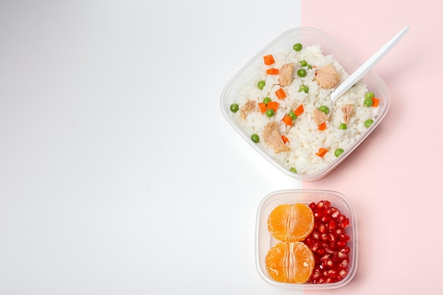 Food in tupperware ready to eat