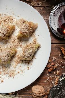 Food turkish desssert breakfast tea concept