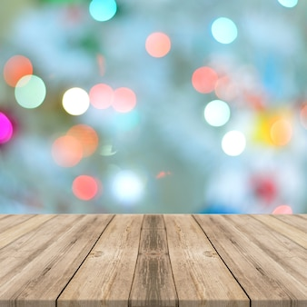 Food wooden table with light bokeh effects square display background