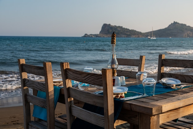 Food zone on the coast. before sunset