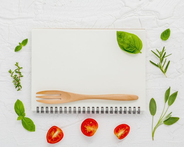 Foods background and food menu design on  wooden background flat lay .