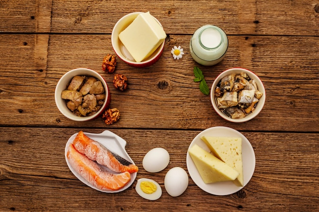 Foods containing vitamin d. cheese, eggs, butter, nuts, milk, sardine, salmon, liver