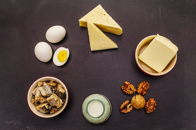 Foods containing vitamin d. cheese, eggs, butter, nuts, milk, sardine