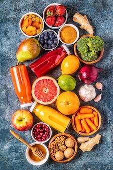 肺を健康に保つための食品、上面図。