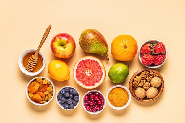 Foods for keeping lungs healthy, top view.