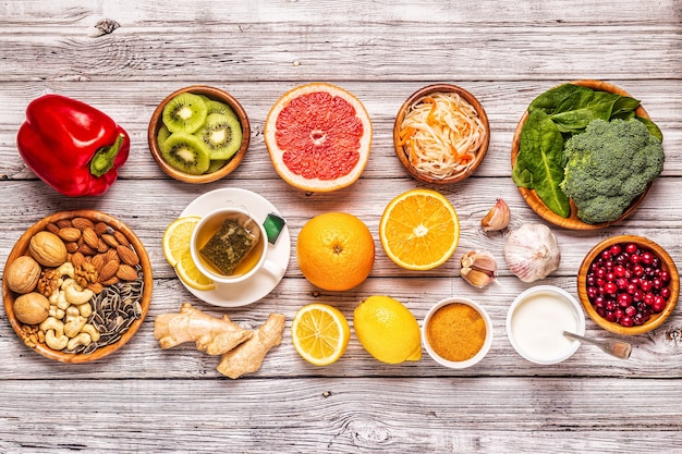 免疫システムを高める食品、上面図。