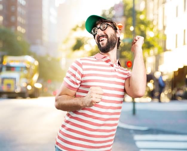 Fool crazy man. happy expression