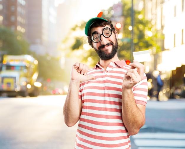 바보 미친 사람. 행복한 표정