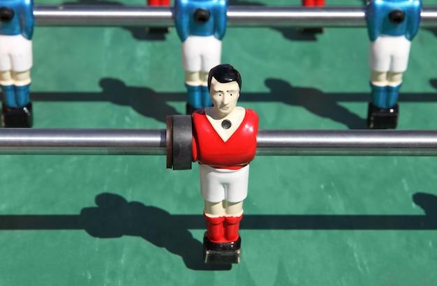 Foosball. vintage metal table soccer players