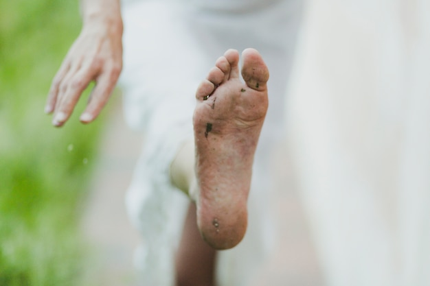 Foot of barefoot woman