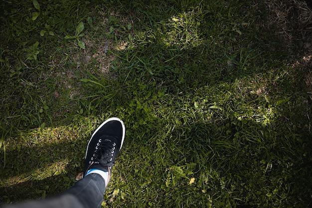 Нога в кроссовках стоит на зеленой траве