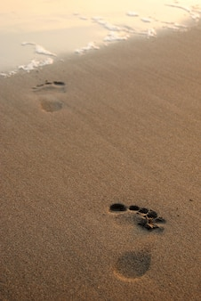 Foot print in sand at beach