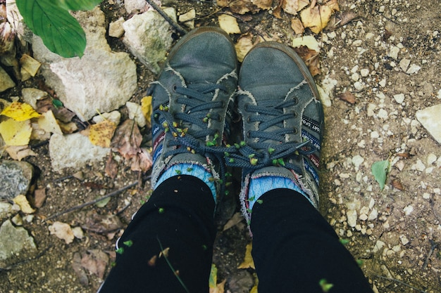 Foot traveler hiking