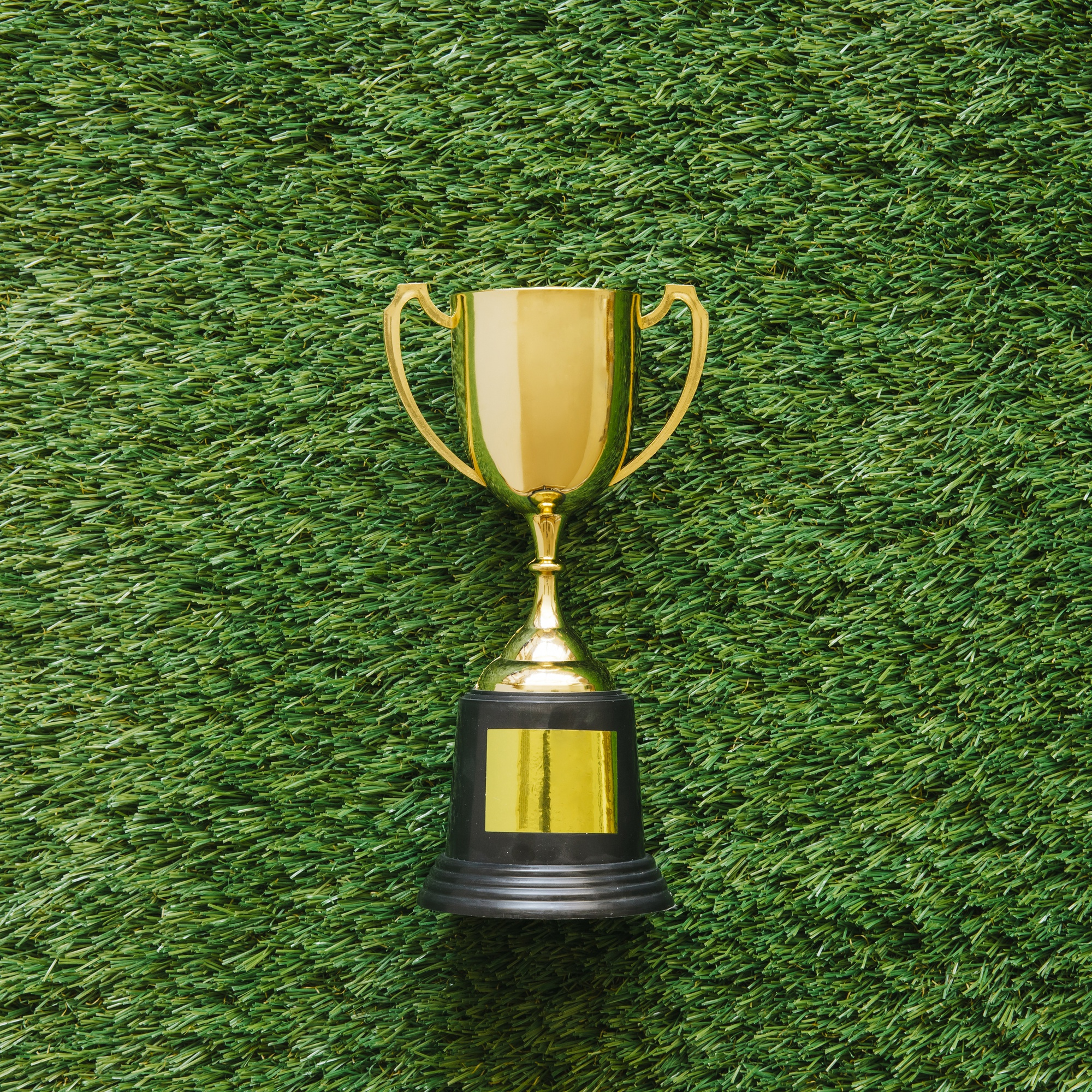 Football background on grass with trophy