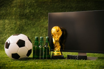Football background with beer and tv