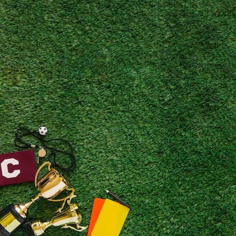 Football background with copyspace on grass