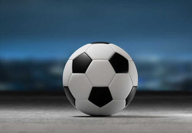 Football ball on the field of a city stadium - 3d rendering