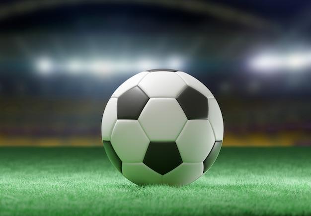 Football ball on the field stadium - 3d rendering