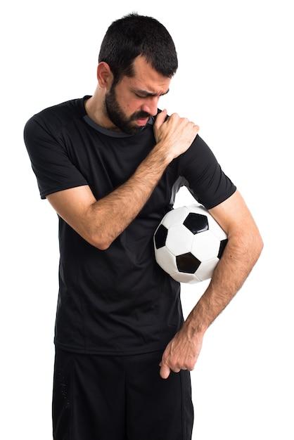 Football ball model boy sportsman