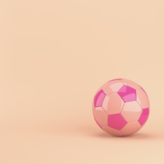 Football ball on pink pastel with copy space. 3d rendering