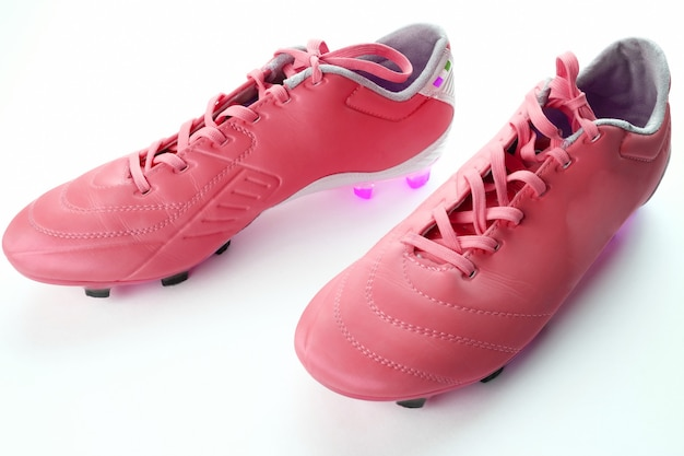 Football boots on the floor. the concept of an active lifestyle. sport.