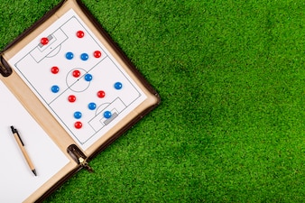 Football composition with board and copyspace