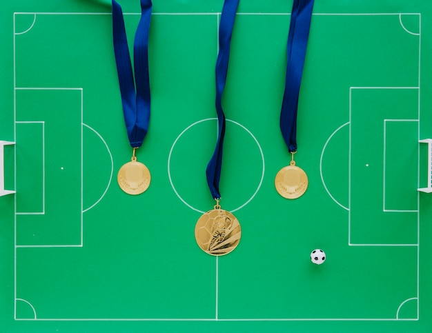 Football composition with medals