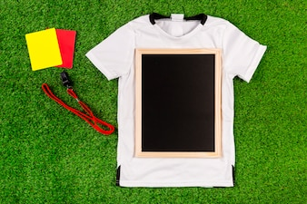 Football composition with slate on jersey