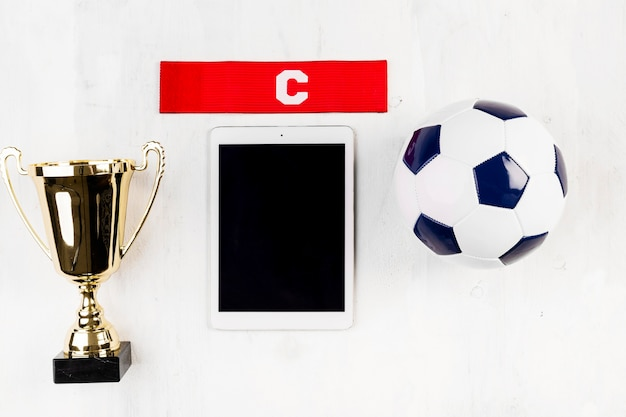 Football composition with tablet