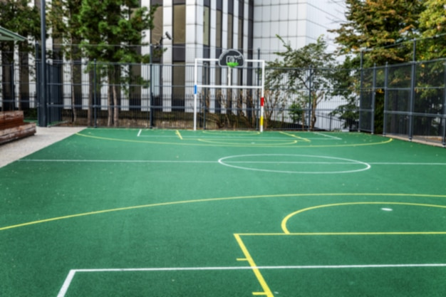 Football field in the city. playground for active games and sports.