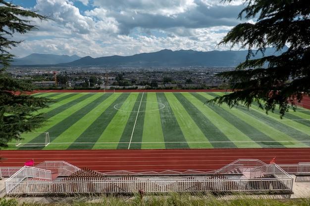 Football field, outdoor artificial turf