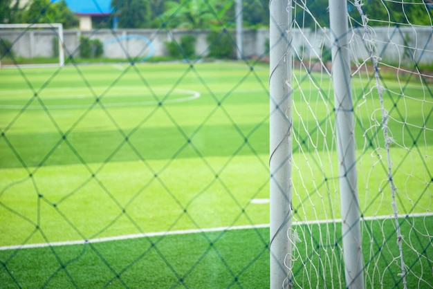 Football field with metal fence
