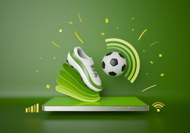 축구는 스마트폰에서 온라인으로 생중계됩니다. 스포츠 대회 프로그램. 축구 공 개체입니다. 축구 게임 응용 프로그램입니다. 흰색 화면 모바일 조롱. 스포츠 온라인 게임. 배경 복사 공간입니다. 3d 렌더링