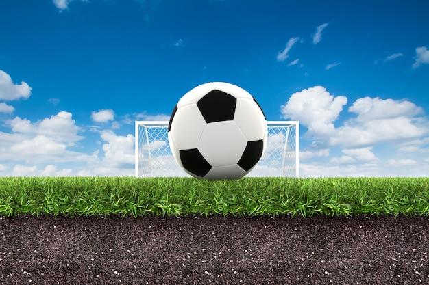 Футбол на зеленой траве с почвой на голубом небе. 3d рендеринг