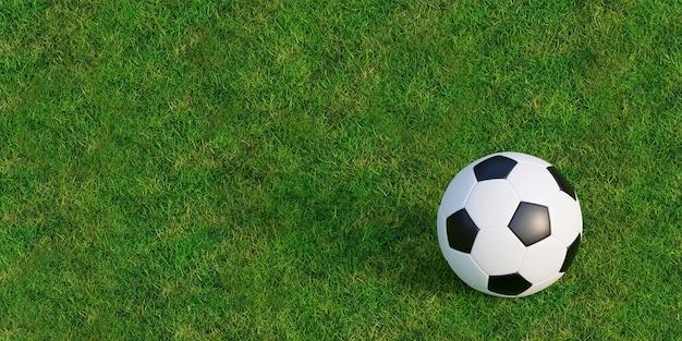 緑の芝生のテクスチャでサッカーやサッカー Premium写真